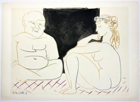 Lithographie Picasso - Nu assis et Bouddha (La Comédie Humaine - Verve 29-30. 1954).