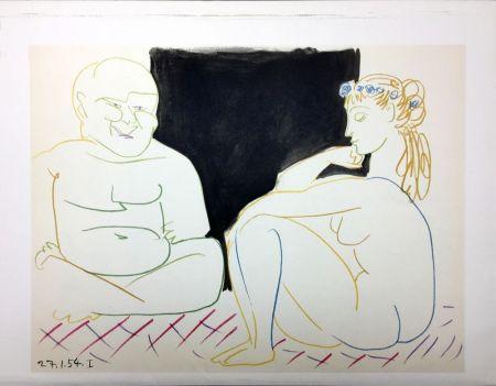 Lithographie Picasso - Nu assis et Bouddha (La Comédie Humaine - Verve 29-30. Vallauris 1954)
