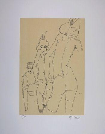 Lithographie Schiele - NU AU MIROIR / A NUDE MODEL BEFORE A MIRROR - 1910