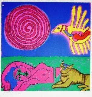 Lithographie Corneille - Nu au Soleil