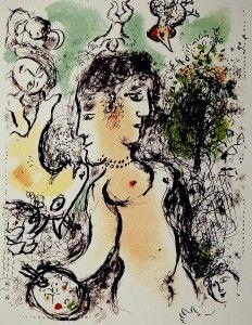 Lithographie Chagall - Nu au visage double