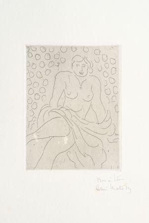 Gravure Matisse - Nu drapé sur fond composé de cercles