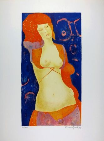 Lithographie Bonnefoit - Nu Orange / Orange Nude