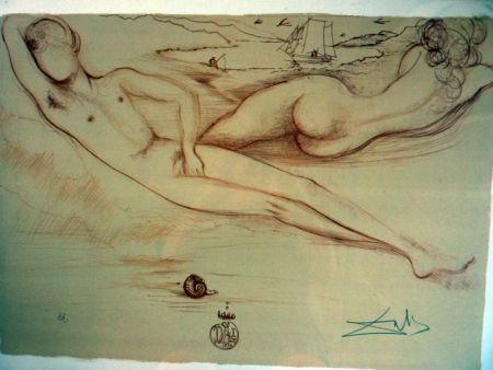 Lithographie Dali - Nude At The Beach   From