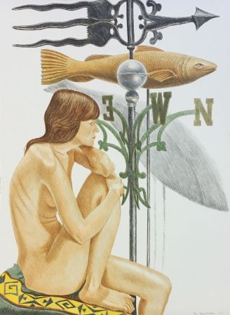 Lithographie Pearlstein - NUDE MODEL WITH BANNER AND FISH WEATHERVANE