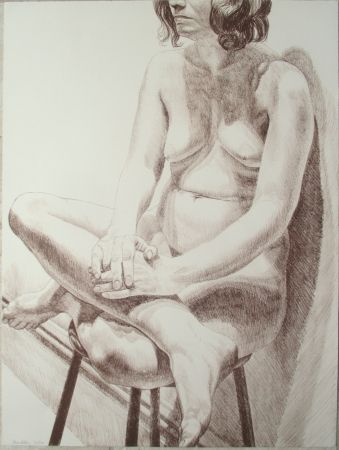 Lithographie Pearlstein - Nude on a stool
