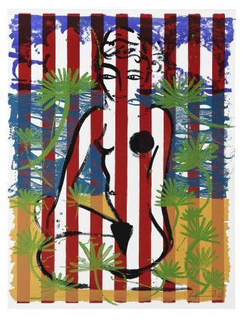 Sérigraphie Szczesny - Nude on Red Stripes