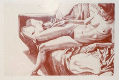 Lithographie Pearlstein - Nude on Sofa Draped