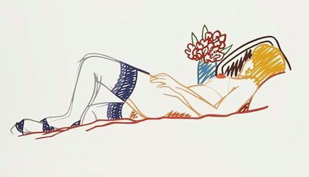 Sérigraphie Wesselmann - Nude with Bouquet and Stockings