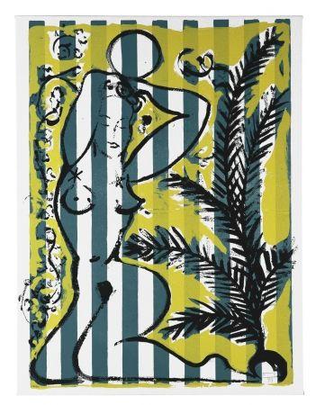 Sérigraphie Szczesny - Nude with Palms on Green Stripes
