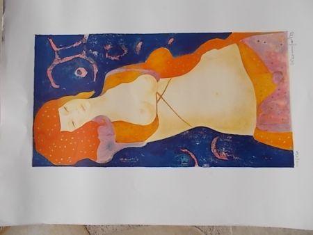 Lithographie Bonnefoit - Nue orange