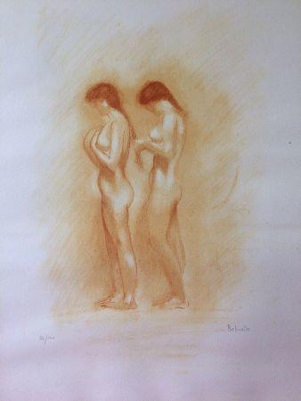 Lithographie Belmondo - Nus. Lithographie à la manière de la sanguine.