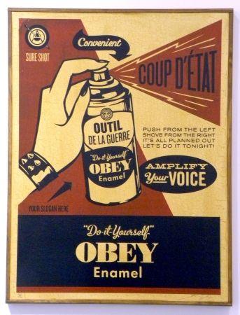 Sérigraphie Fairey - Obey Coup D'Etat (on wood)
