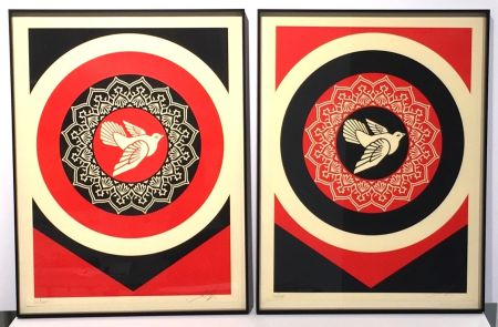 Sérigraphie Fairey - Obey Dove Red & Black Set