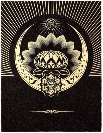 Sérigraphie Fairey - Obey Lotus Crescent (Black / Gold)