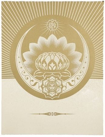 Sérigraphie Fairey - Obey Lotus Crescent (White / Gold)