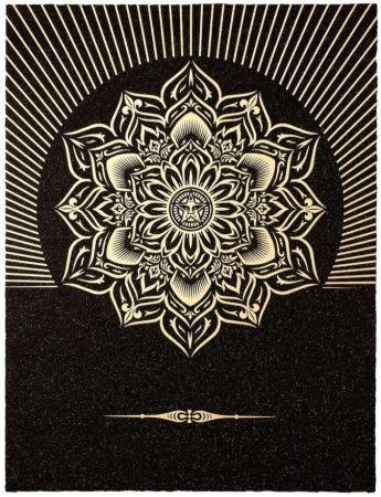 Sérigraphie Fairey - Obey Lotus Diamond (Black / Gold)