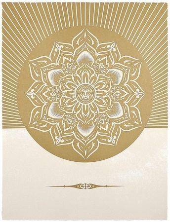 Sérigraphie Fairey - Obey Lotus Diamond (White / Gold)