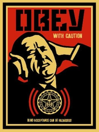 Sérigraphie Fairey - Obey with Caution