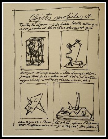 Lithographie Giacometti - OBJETS MOBILES ET MUETS I