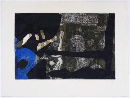 Gravure Clavé - Ocre, noir et bleu