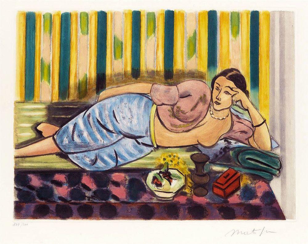 Aquatinte Matisse - Odalisque au Coffret Rouge (Odalisque with Red Box)