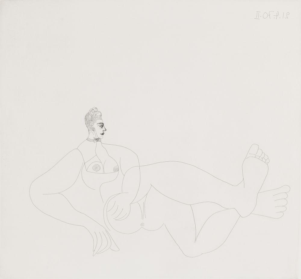 Eau-Forte Picasso - Odalisque au collier de chien