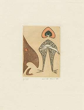 Aquatinte Ernst - Ohne Titel bzw. Le chapeau rouge,