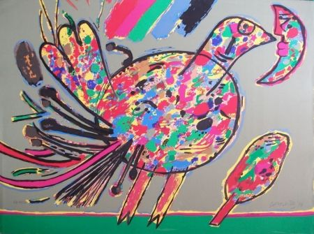 Lithographie Corneille - Oiseau