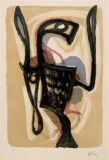 Lithographie Atlan - Oiseau de Lune