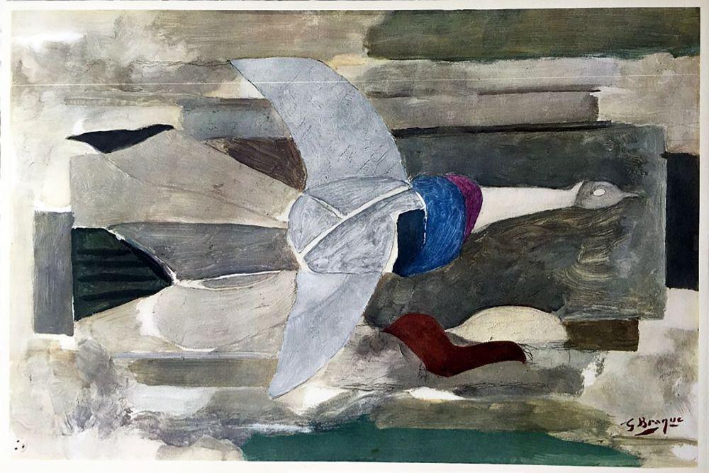Héliogravure Braque - Oiseau en vol (1953)