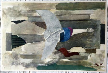 Lithographie Braque - Oiseau en vol (1953)