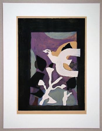 Lithographie Braque - Oiseau Et Lotus