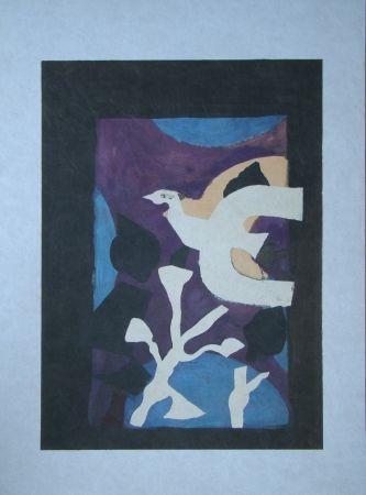 Lithographie Braque - Oiseau et Lotus. Avant La Lettre
