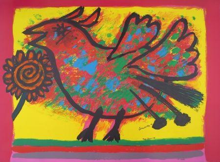 Lithographie Corneille - Oiseau multicolore