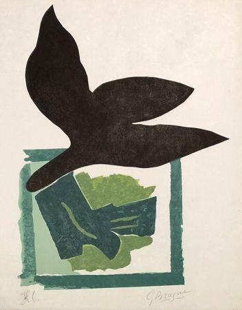 Gravure Sur Bois Braque - Oiseau noir sur fond vert