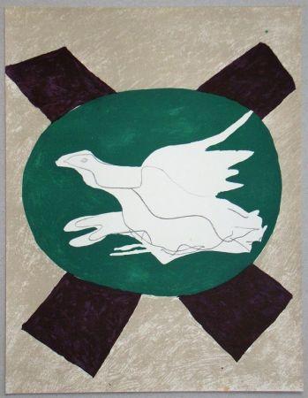 Lithographie Braque - Oiseau sur fond de X
