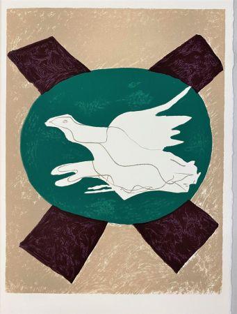 Lithographie Braque - Oiseau sur fond X