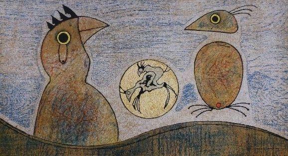 Lithographie Ernst - Oiseaux