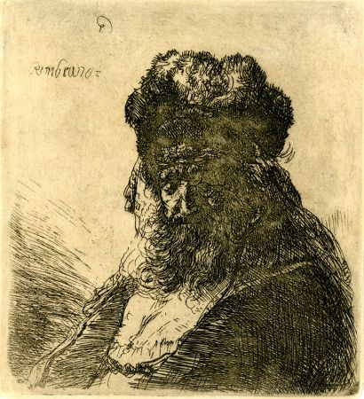 Gravure Rembrandt - 	Old Bearded Man in a High Fur Cap, with Eyes Closed, c. 1635