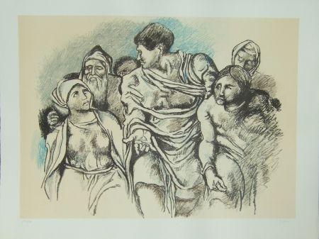 Lithographie Guttuso - Omaggio a Michelangelo
