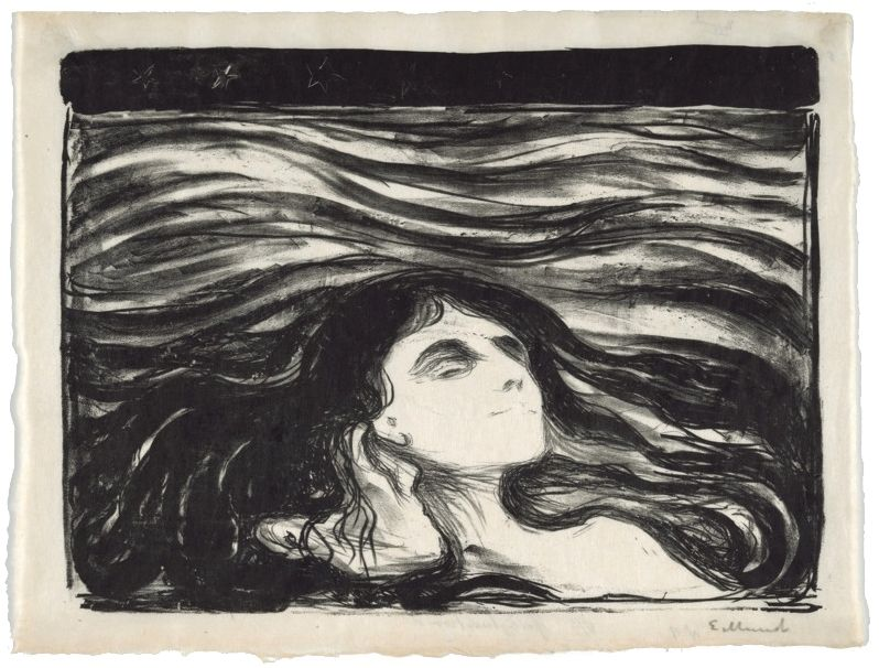 Lithographie Munch - On the waves of love