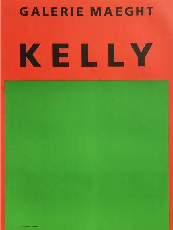 Lithographie Kelly - ORANGE ET VERT. Afiiche lithographie originale (1964).
