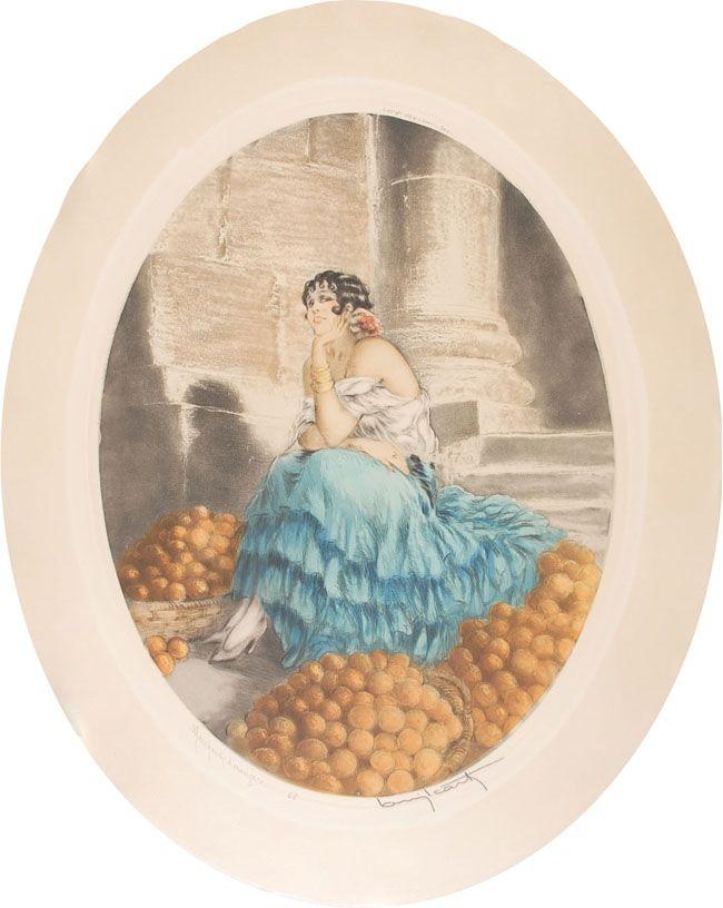 Eau-Forte Icart - Orange seller - Marchande d'oranges