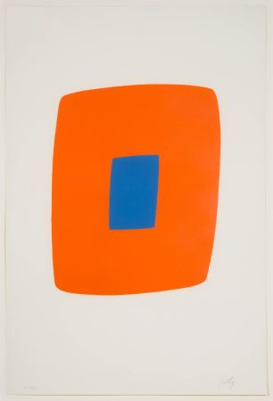 Lithographie Kelly - Orange with Blue