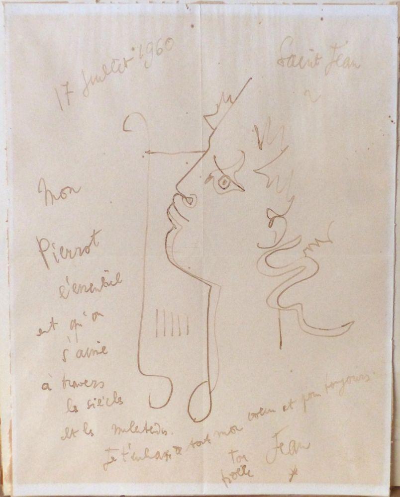 Aucune Technique Cocteau - Orphée à la lyre. Dessin signé
