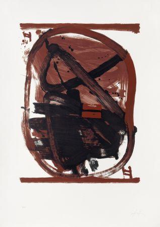 Lithographie Tàpies - Ovale rouge et noir