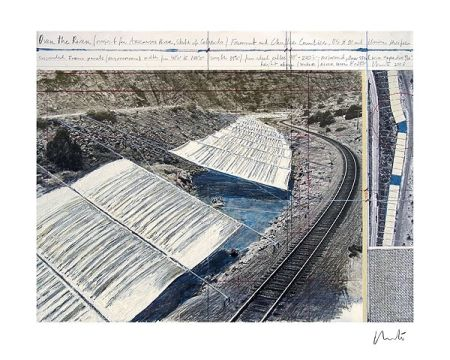 Lithographie Christo - Over The Arkansas River, Project A