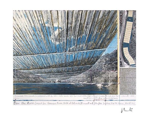 Lithographie Christo - Over The Arkansas River, Project U