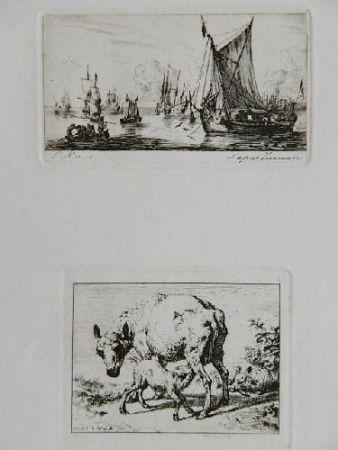 Gravure Meryon - Pêcheurs de la mer du sud (after Zeeman) [with] La brebis et les deux agneaux (after Van de Velde)